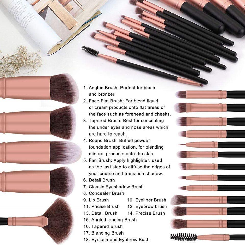 BS-MALL Makeup Brushes 18pcs Premium(Rose Gold)