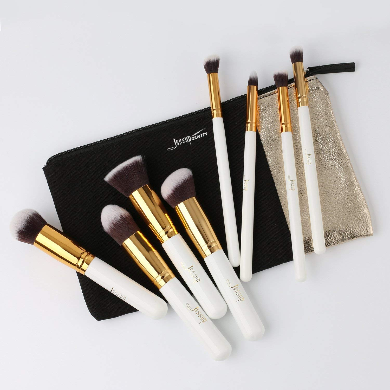 Jessup Professional Cosmetics Premium brushes set 8pcs White/Gold make up brushes with bag