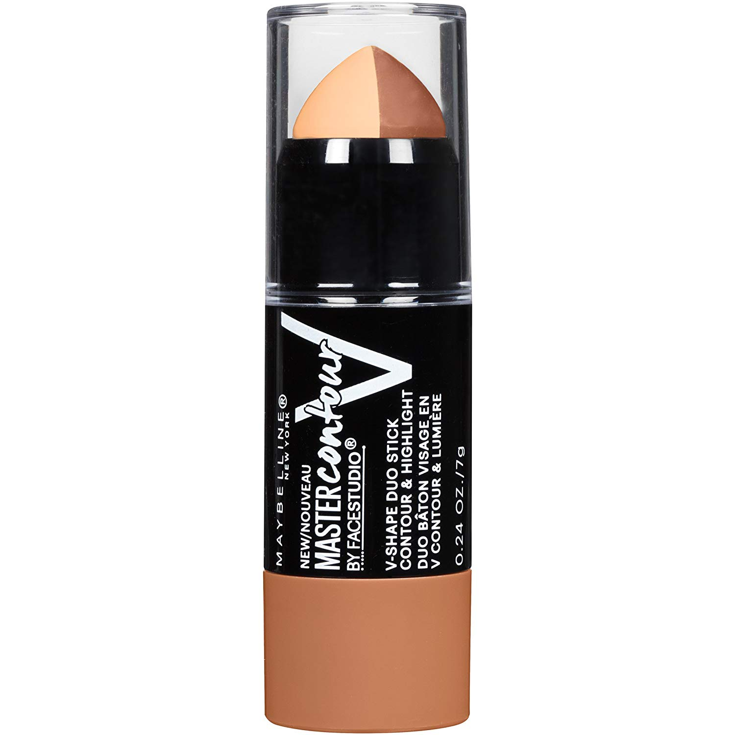 Maybelline New York Makeup Facestudio Master Contour V-Shape Duo Stick, Deep Shade Contour Stick, 0.24 oz